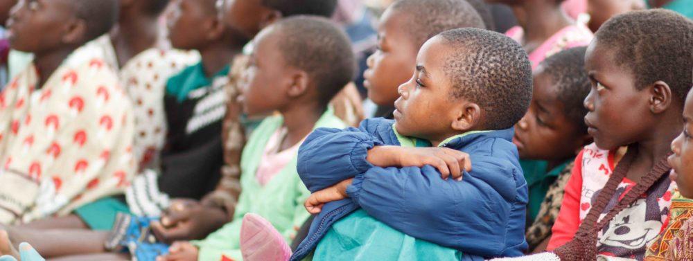 School children in Malawi attending an assembly